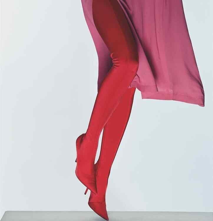 2019 Super Hot kobiety seksowne spodnie-buty elastycznej tkaniny Pointy Toe damskie buty na wysokim obcasie buty spodnie razem buty popularne buty Size42