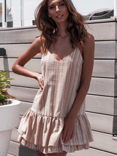 2019 Women Summer Sleeveless Dresses Breathable Casual Loose V-Neck Striped Dress Above the Knee For Vacation Daily 81886