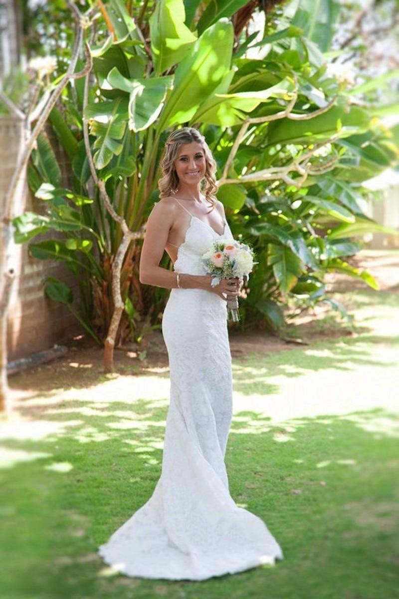 New Sexy Spagetti Straps Lace Long Beach Wedding Dress Abiti