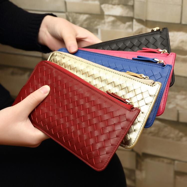 2018 Genuine Leather Sheepskin Wallet Women long Wallets Female Purses Ladies Weave Pattern Womens Wallet Card bit Coin Purse