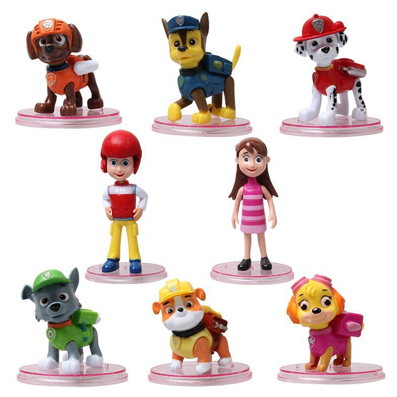 8pcs/set PAW Patrol Dog Deformable Puppy Toy for Model Anime Kids Toys Action Figure Gifts for children H8 12pcs set children kids toys gift mini figures toys little pet animal cat dog lps action figures