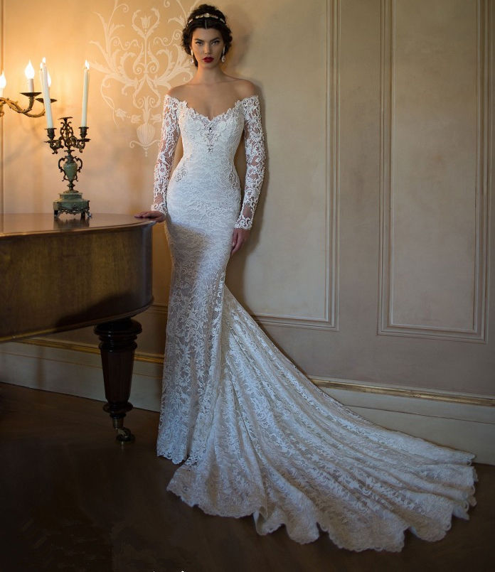 White Backless Lace Mermaid Wedding Dresses 2018 V Neck: 2017 White Lace Long Sleeve Mermaid Wedding Dresses Plus