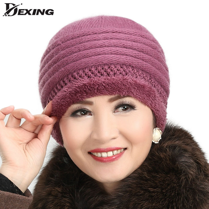 brand autumn Thickened mother cashmere knit cap Winter Hats For women Rabbit Fur Warm Baggy Wool Knitted Hat Skullies Beanies knitted skullies cap the new winter all match thickened wool hat knitted cap children cap mz081