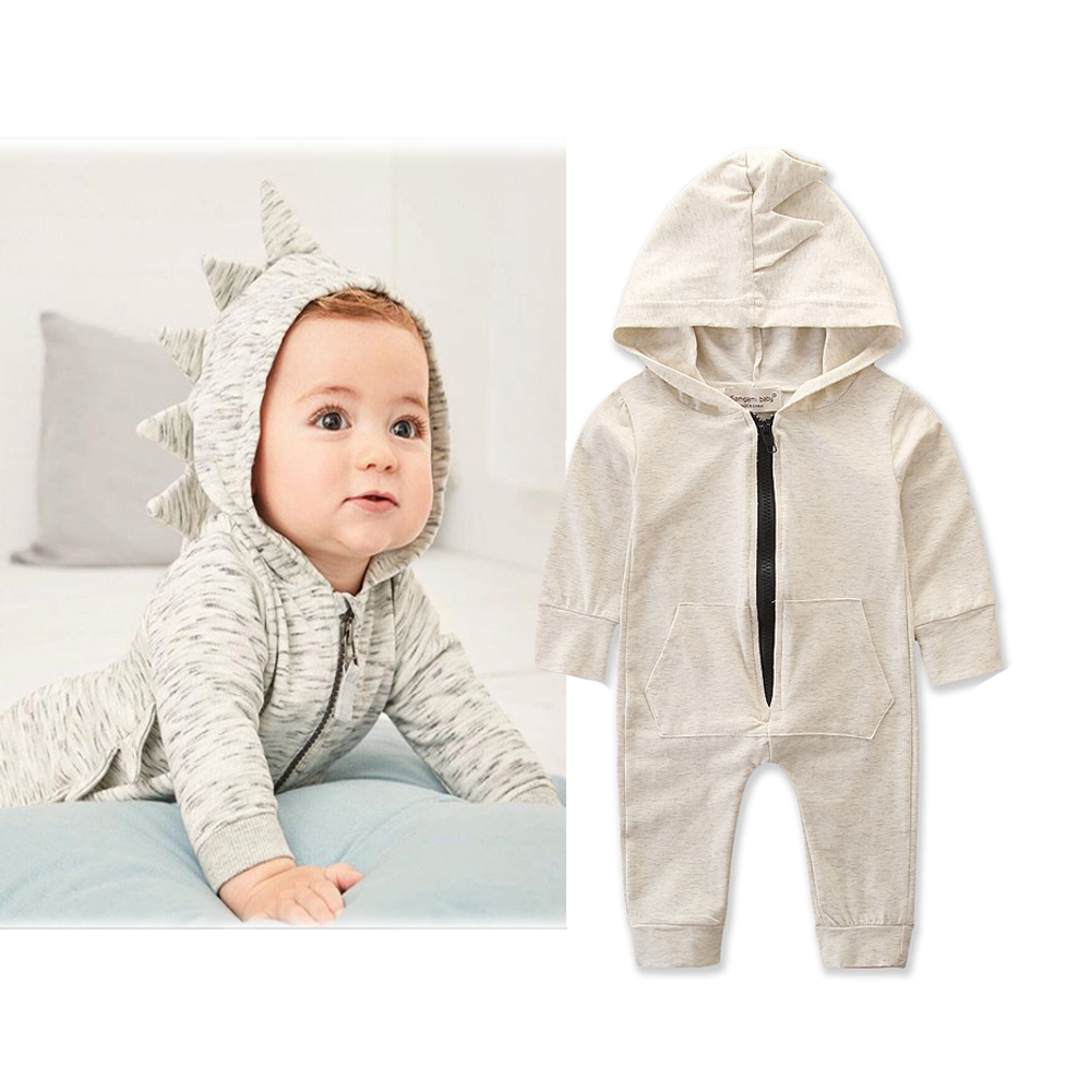 Baby   Romper   Newborn Photography Props Long Sleeve Dinosaur Hooded   Rompers   Kids Autumn Clothes Children Cotton Clothing Jumpsuit