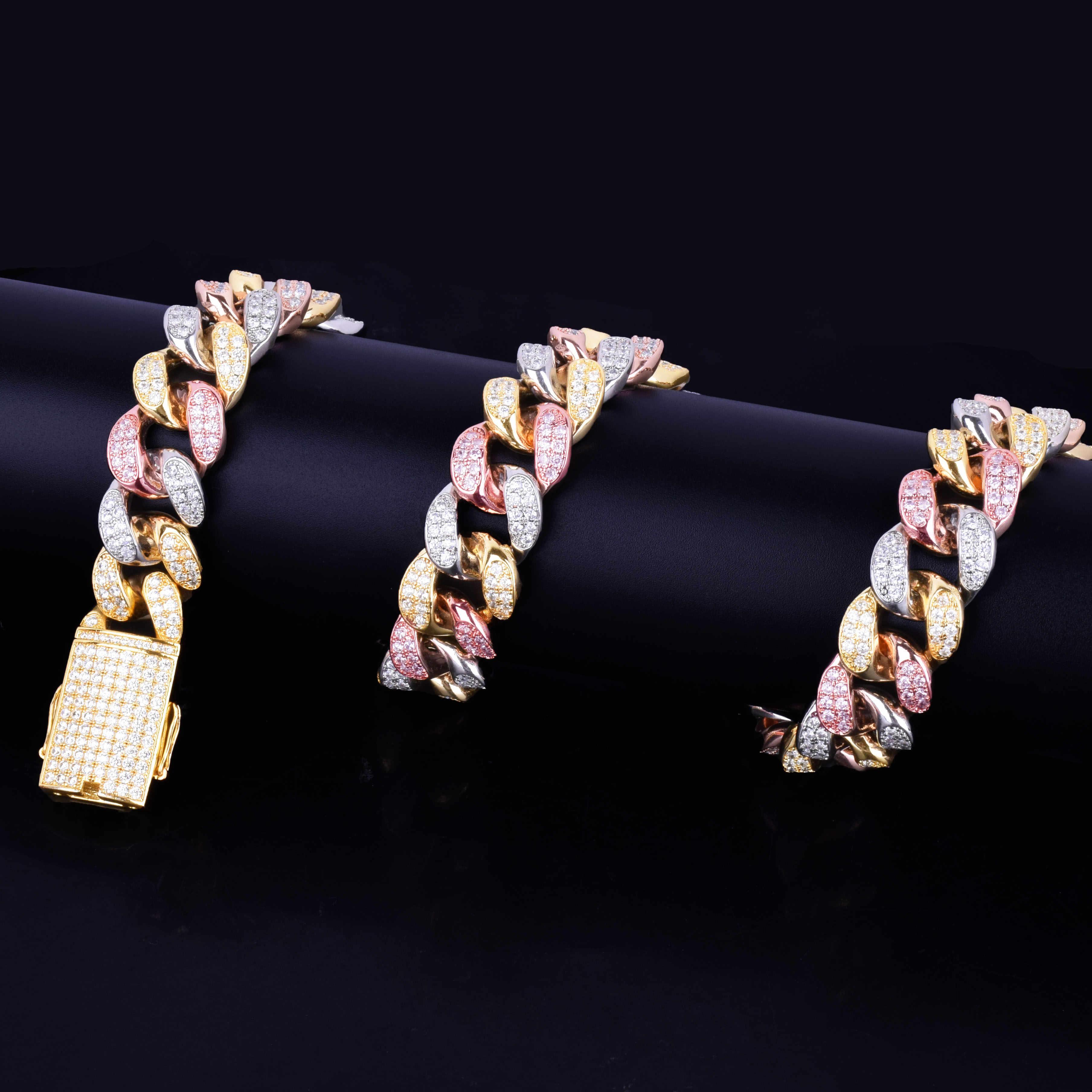 """20 มม. ทองเงิน Rose Zircon ที่มีสีสัน Miami Cuban สร้อยคอ Choker ผู้ชายเครื่องประดับ Hip hop Big CUBAN Chain 16 """"18"""" 20"""""""