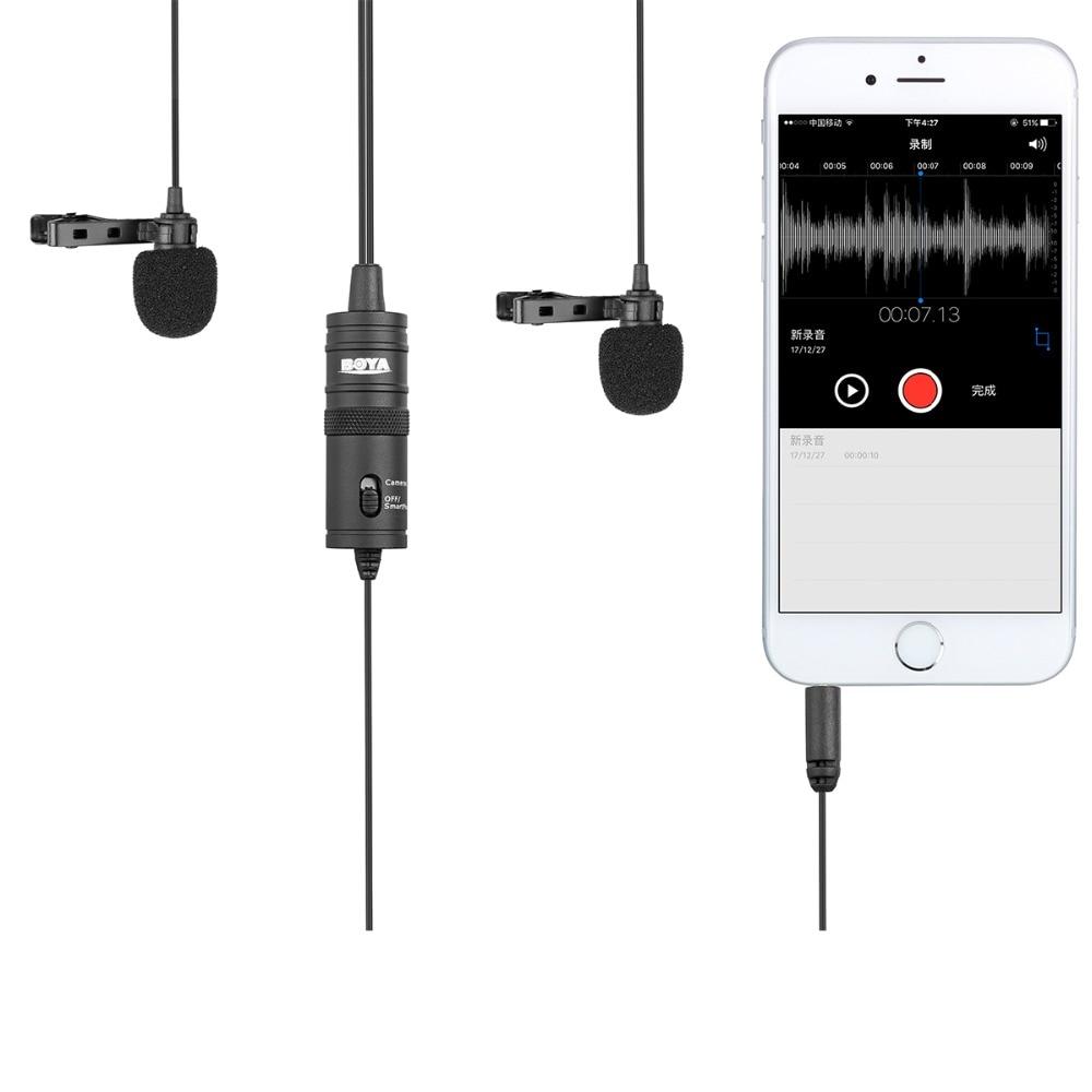 Boya By-M1DM 6 m Kabel Double-Tête Cravate Revers Clip-sur Microfoon voor Interview en direct/Smartphone/ mobiele telefoon/Tablet