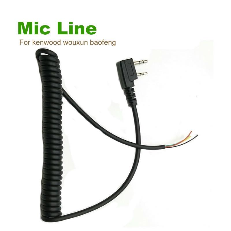 imágenes para Diy 5 alambre cable del micrófono k enchufe de 2 pines para kenwood wouxun puxing baofeng linton tyt quansheng etc walkie talkie