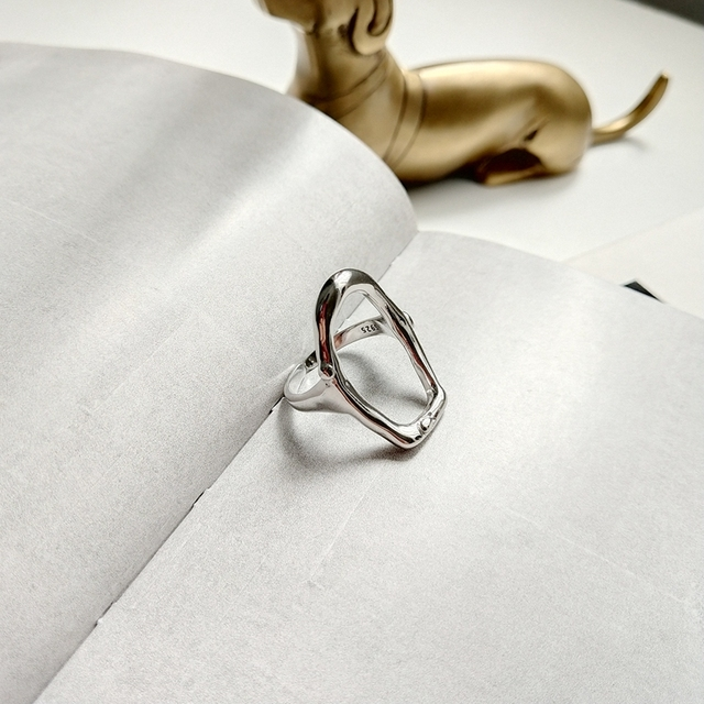 925 sterling silver openwork irregular rings silver fashion personality open adj
