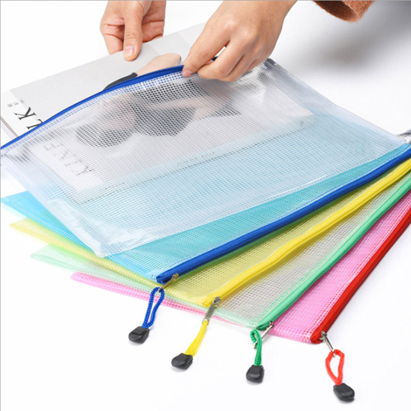 Five File Bags With Thickened A4 Mesh Zipper Bags Transparent File Bags Waterproof Information Bags
