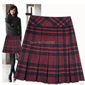 Free Shipping M-6XL Plus Size Women Plaid Knee-Length Skirt  Fashion Casual Skirt New Style 2014 New Women Autumn Pleated Skirts