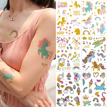 6pcs/pack temporary tattoo sticker gold unicorn horse rainbow glitter kids children set tatoo for girls stickers