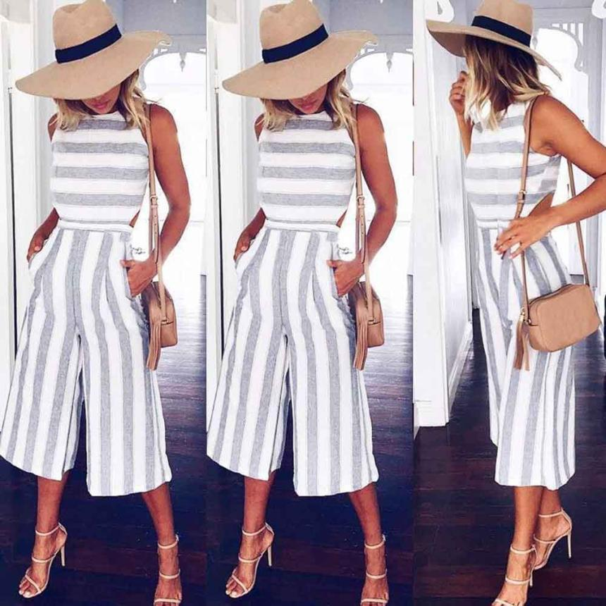 JAYCOSIN 2018 Newly Womens Spring Summer Sleeveless Striped Jumpsuit Casual Loose Trousers Fashionable Jumpsuit Plus Size 06.27