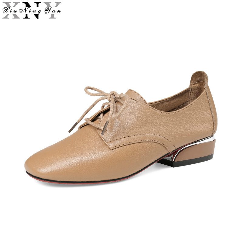 XIUNINGYAN Genuine Leather Flat Shoes Women Handmade 2017 Vintage Square Toe British Casual Soft Oxford Ladies Flats Creepers lotus jolly ballet flats faux leather women casual shoes tie vintage british oxford low pointed toe spring autumn zapatos mujer