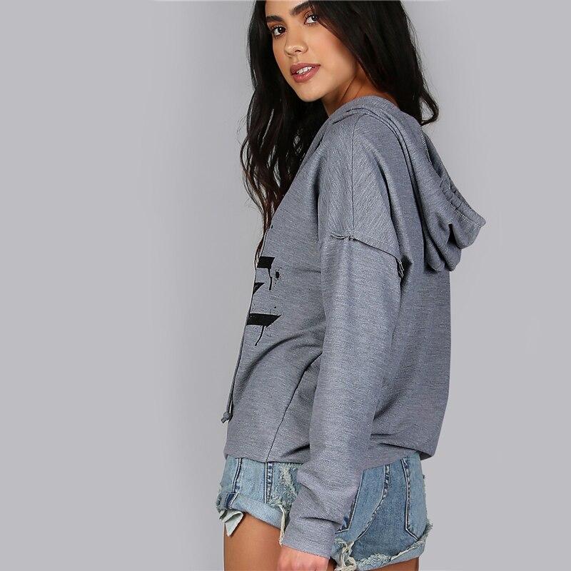 Romwe Frauen Hoodies Sweatshirts Gedruckt Distressed Cut Out Edgy Hoodie Herbst Grau V-ausschnitt Langarm Sexy Pullover Frauen Kleidung & Zubehör
