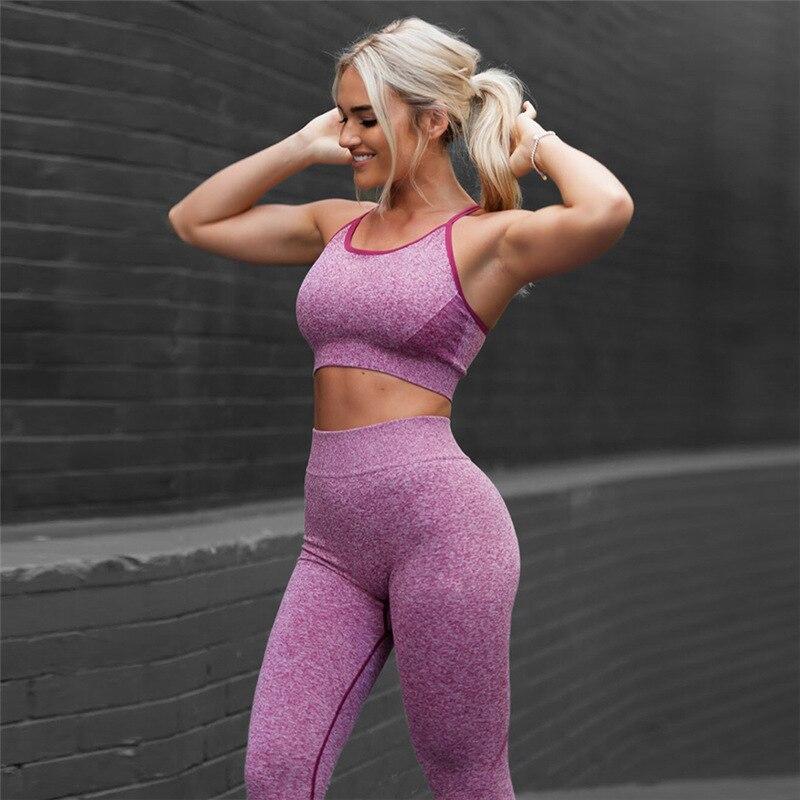 ★  женский фитнес комплект йога спортивная одежда 2шт бюстгальтер + брюки йога 2 цвета 2шт бюстгальтер  ✔