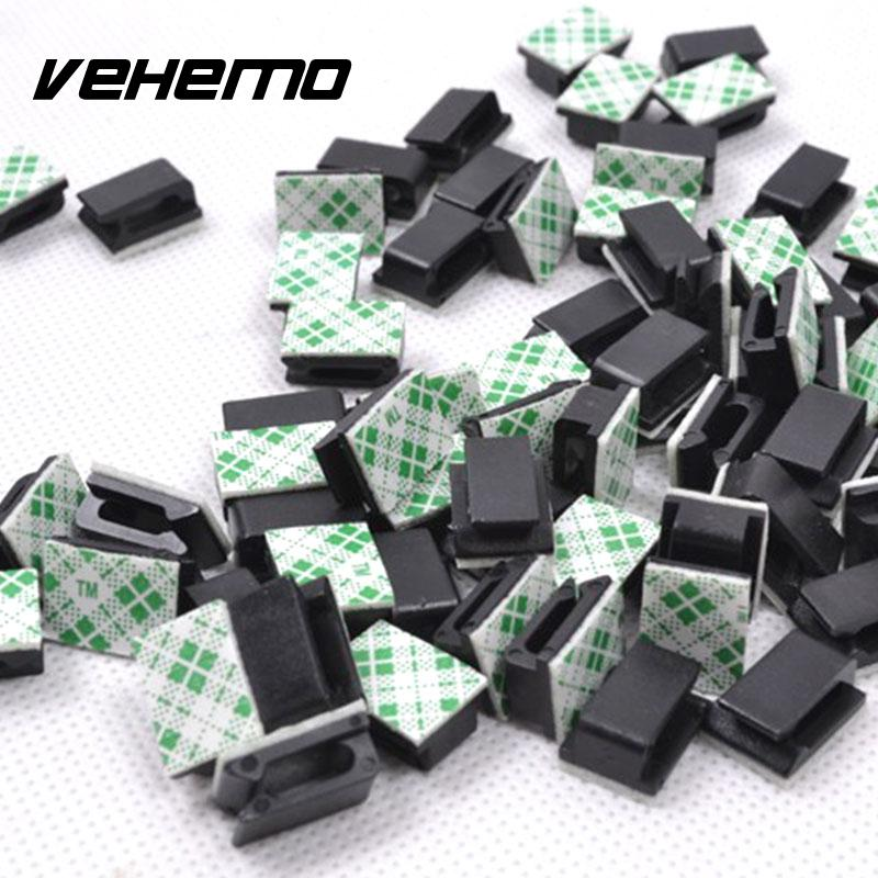 Vehemo 30Pcs/Set with Adhesive Black Wire Tie Cable Clip GPS Car Audio Cable Durable