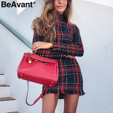 BeAvant Elegant plaid tweed women winter dress 2018 Warm long sleeve mini dress casual Ladies tassel bodycon office dress female