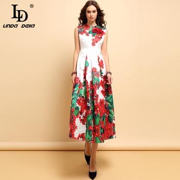 LD LINDA DELLA Spring Summer Fashion Dress Womens Sleeveless Appliques Beading Floral Print Elegant Vintage Party Long Dresses