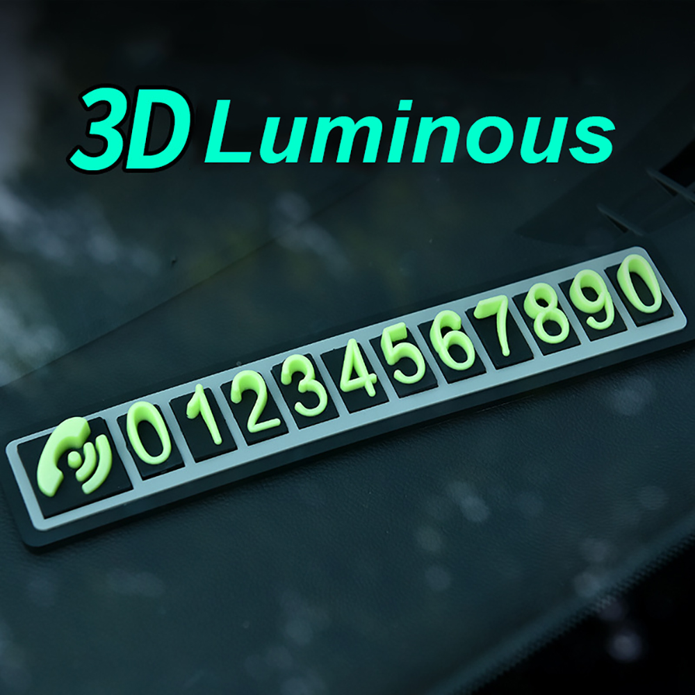 Car Temporary Parking Plate Car Temporary Parking Phone Numbers Sign Parking Luminous Numbers Plate Sticker