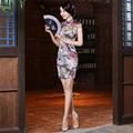 Flower Pure Silk Women Cheongsam Chinese Style Dress Lady Bodycon Vestidos Female Evening Dress Satin Qipao Dress 18