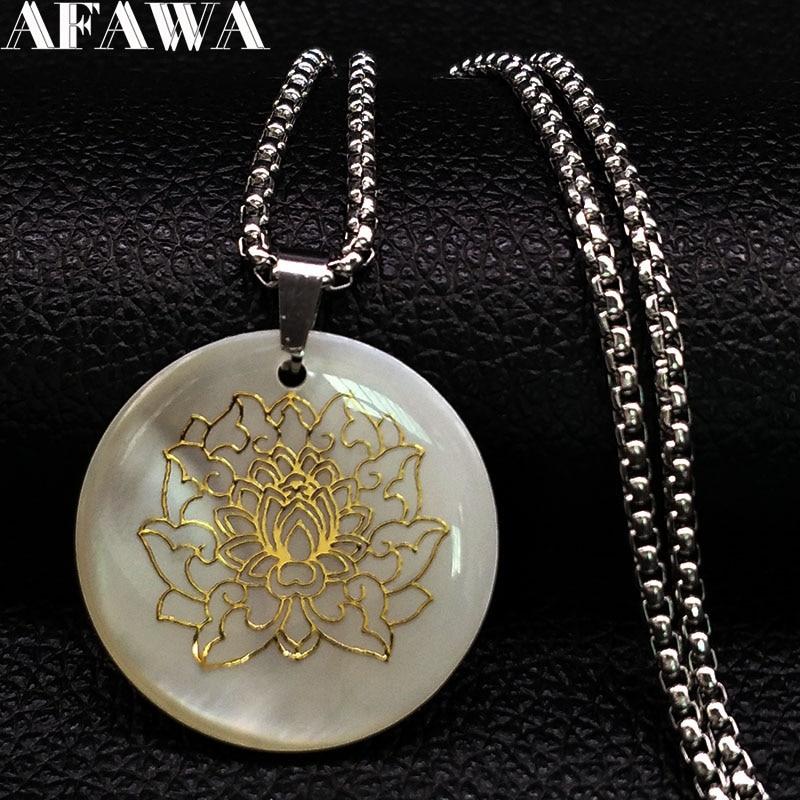 2020 Lotus coquille acier inoxydable collier femmes couleur or fleur de vie colliers bijoux collier ras du cou N18473