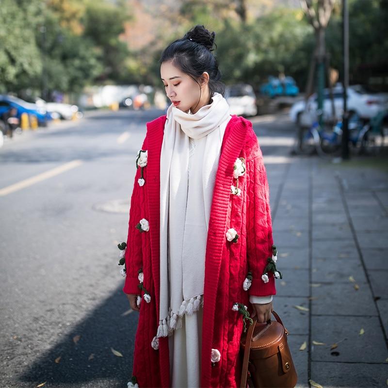 Irinay503 Long Pull Vintage Collection Fleurs Cardigan Capuchon Femmes À Nouvelle Crochet 2019 Au Rouge De rzprq