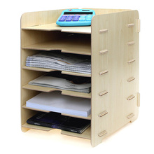Деревянный держатель для файлов, креативный рабочий стол, A4, коробка для файлов, 6, многослойная рамка для хранения информации, органайзер для журналов, офисные принадлежности