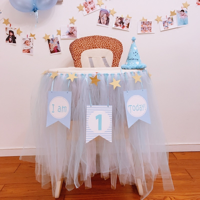 Boy Girl First Birthday Cardboard 1st Blue Pink Chair Flag Banner Baby One Year Old Birthday Hanging Baby Shower Decoration