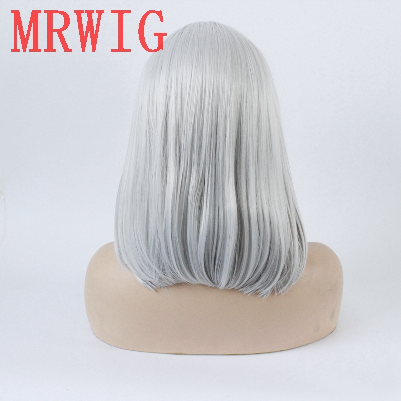 Image 4 - MRWIG silver gray short bob straight glueless front lace wig middle part 12in 150%density grey hair color wig-in Synthetic None-Lace  Wigs from Hair Extensions & Wigs