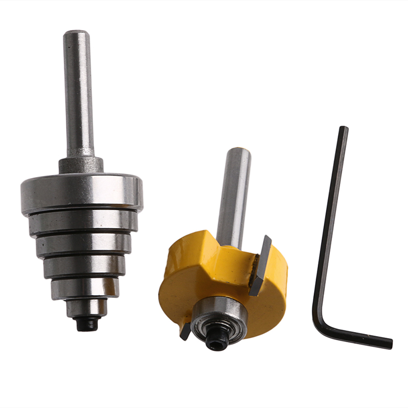 2Pcs/set Cemented Carbide Rabbet Router Bits 1/4 Shank with 6 Adjustable Bearing 1pc 1 4 shank cemented rabbet carbide router bit with 6 bearing for woodworking cutter power tool