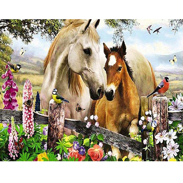 5D Full Diamond Painting Animal Horses picture Cross Stitch DIY Diamond Mosaic Embroidery Handmade Crafts Home Decoration