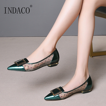 Women Flats Genuine Leather Shoes Flat Ladies Shoes Slip On Pointed Toe Metal Buckle Decoration Leather Mesh Shoes недорого