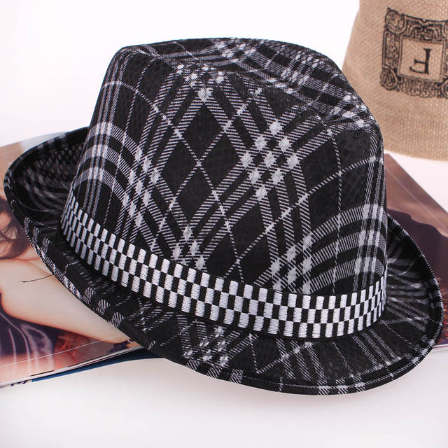 893b8e70 striped Cheap Summer short brim Panama Fedora Hats Jazz Borsalino Hat Beach  Sunhat Waterproof fast Dry Cap for men women-in Men's Fedoras from Apparel  ...