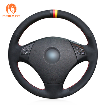 MEWANT Black Genuine Leather Suede Hand Sew Car Steering Wheel Cover for BMW E90 E91(Touring) 320d 325i 335i X1 E84