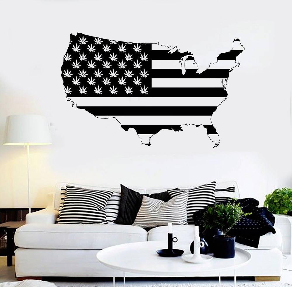 Home Art Decor Wall Decals ~ American map vinyl wall sticker smoking weed area