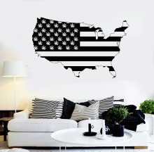 American Map Vinyl Wall Sticker Smoking Weed Area Decals Home Decor Art Design United States Y-819