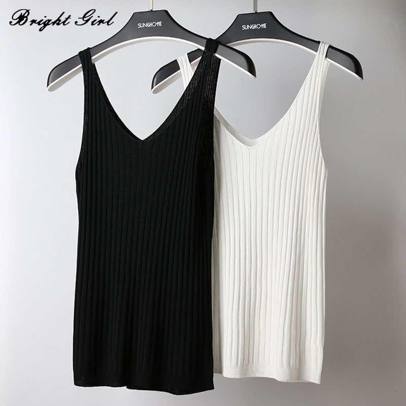 BRIGHT GIRL Summer Women Sexy Tops Knitted Imitation Ice Silk Camis Tank Tops Girls Causal Deep V Neck Sleeveless Knitting Vest