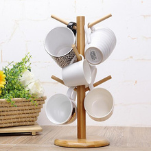 New Arrival,6 Hooks wood tree shape coffee tea drink cup holder rack drying storage rack,Kitchen Accessories.