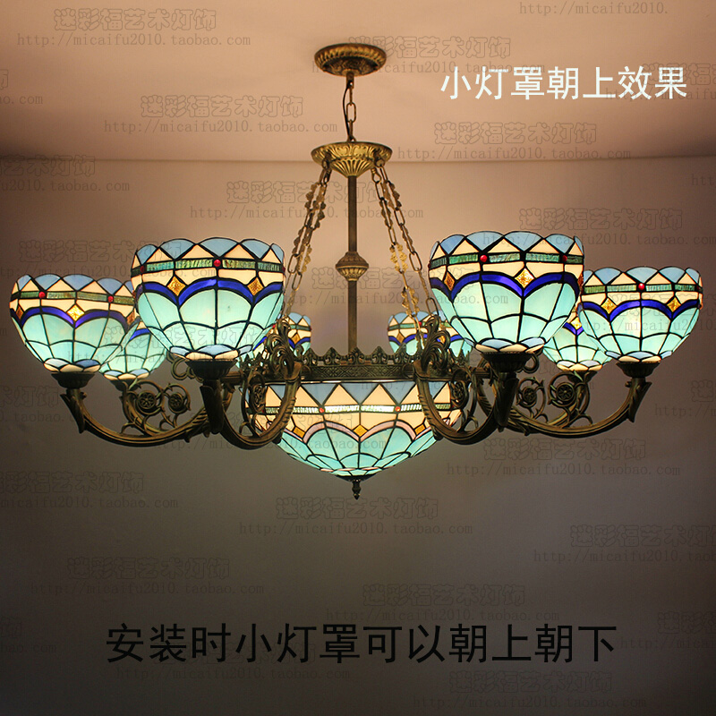 European style Mediterranean Blue Tiffany pendant light  stained glass lobby bar villa living room lamp fumat stained glass pendant lamps european style glass lamp for living room dining room baroque glass art pendant lights led