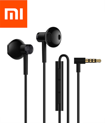 Original Xiaomi Double Unit Half In-ear Earphone with Mic Remote control For Xiaomi Samsung IPHONE HTC SONY Black and White