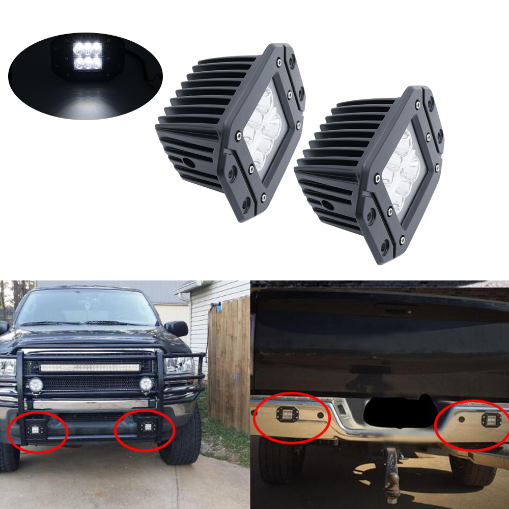 Us 10 23 14 Off Flush Mount Backup Reverse Front Rear Bumper Led Lights Cube Pods Fog Lamp For Offroad Lada Niva Uaz Toyota Audi Led Work Lights In