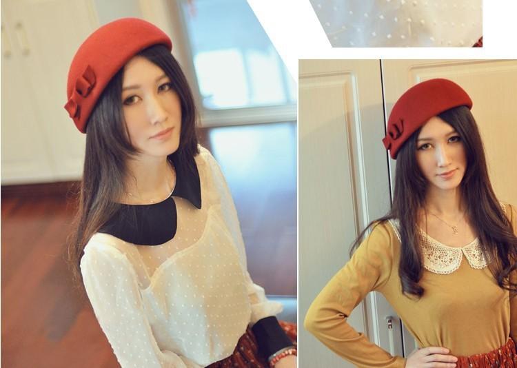 Divat női HAT őszi és téli vintage íj gyapjú fedoras sapka - Ruházati kiegészítők - Fénykép 6