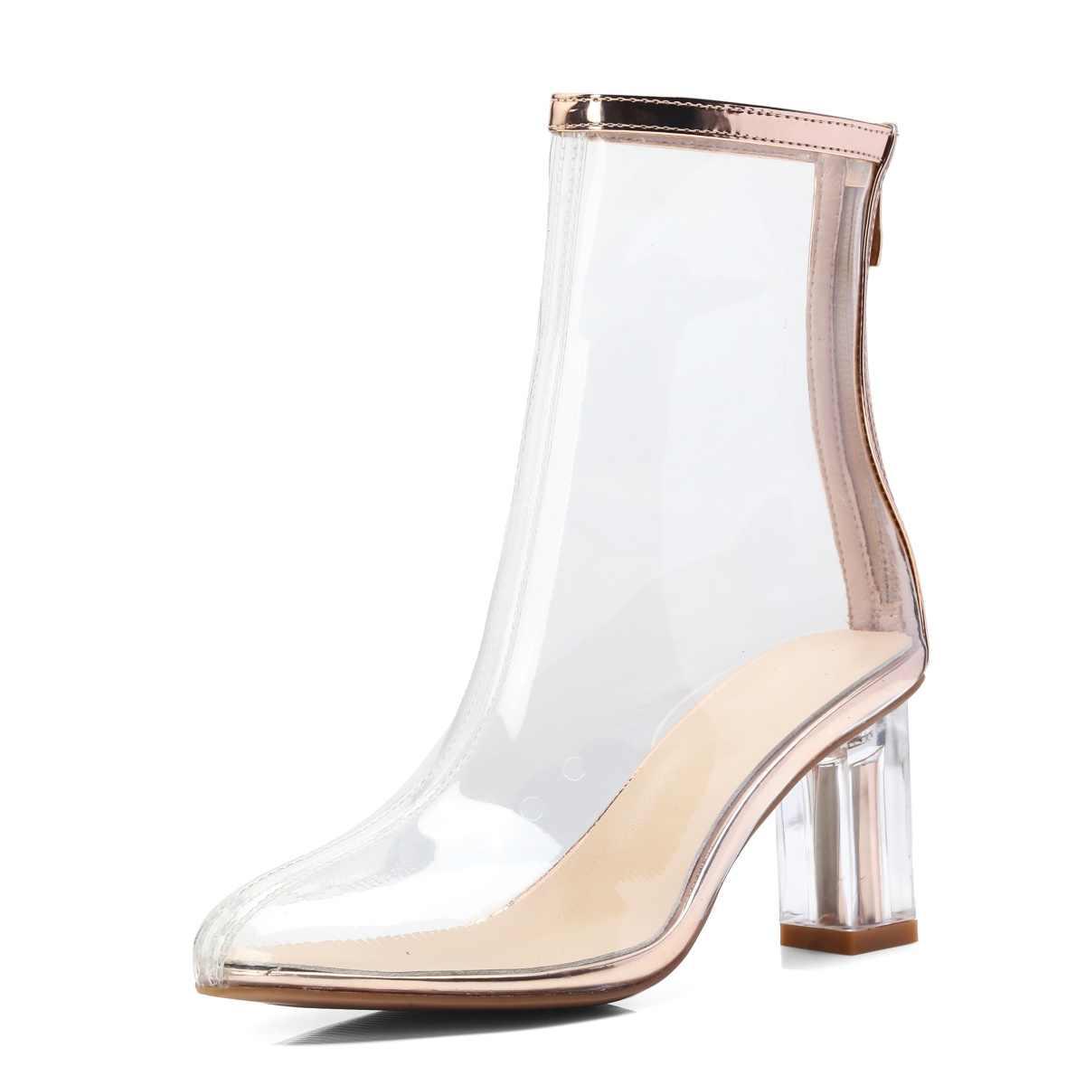 Yüksek Kalite Kadın Moda Şeffaf Çizmeler Yüksek Topuk Fermuar Ayak Bileği Çizmeler Yuvarlak Ayak Bahar Sonbahar Seksi Bayanlar Ayakkabı 2018 Yeni
