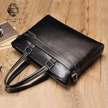 LAORENTOU Mens Genuine Leather Handbag Shoulder Messenger Bag Business Laptop Briefcase Man Quality Notebook Briefcases