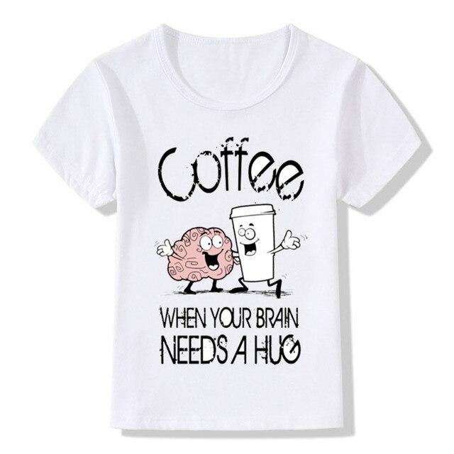 2017 Coffee Hug Print Funny T Shirts For Children Boys and Girls ...