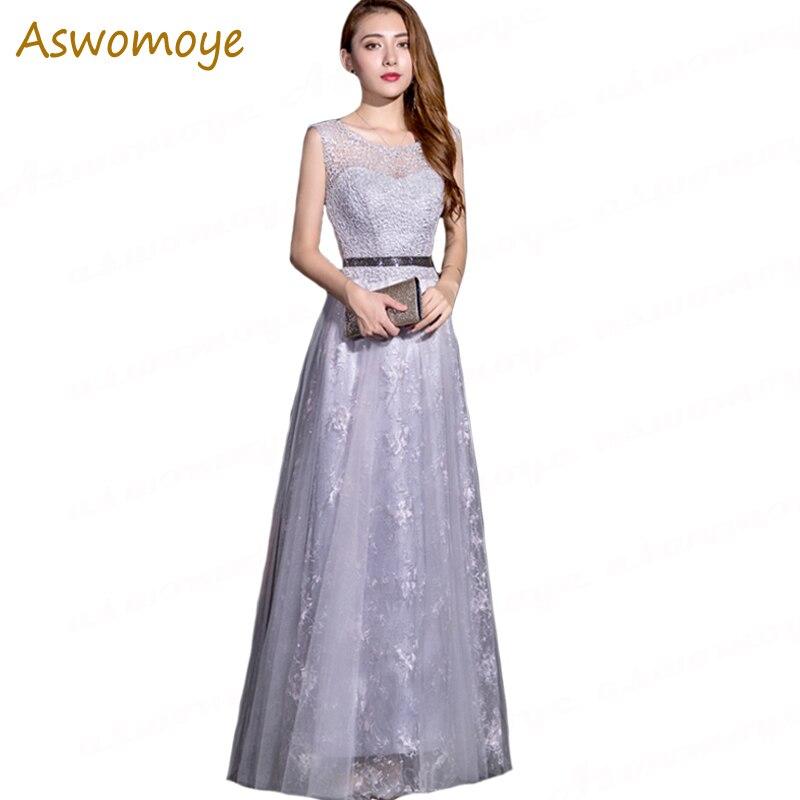 Silver   Evening     Dress   2019 New Elegant Fashion Prom   Dress   Illusion O-neck Special Occasion   Dresses   Sleeveless Beaded Sashes