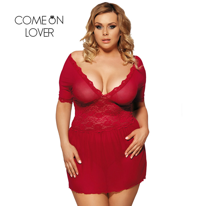 RI70335 Comeonlover Sexy Lingerie Lace Deep V Plus Size Lingerie Sleepwear V Back Langerie Sex Red Women Sexy Lingerie Babydoll