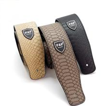 P&P Guitar Strap Crocodile Snake Skin Embossed PU Leather Widen Guitarra Straps Belt for Electric Bass 150cm