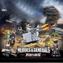 Military ww2 Germany army figures 6in1 FLAK38*20mm building block world war Wounded soldier bricks weapon gun batisbricks toys