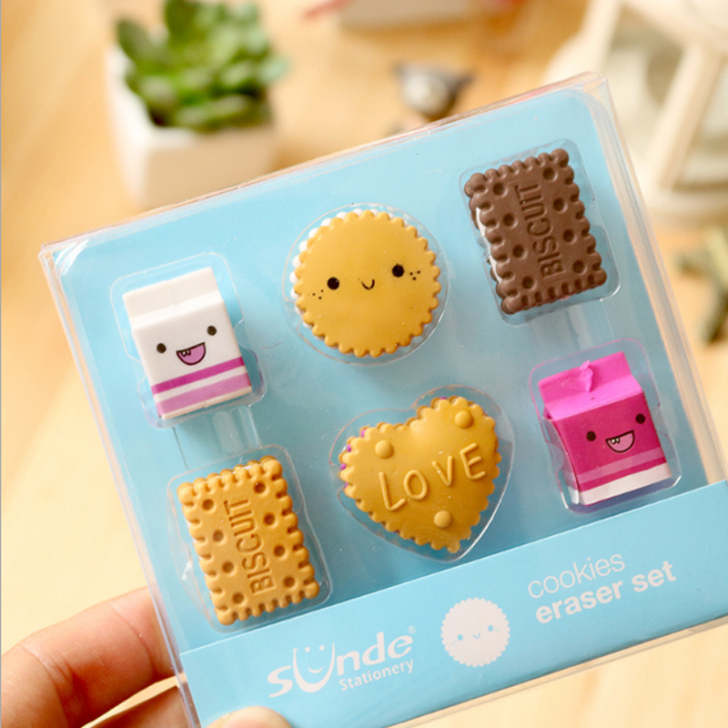 6pcs /box Milk Biscuits Eraser Set Creative Rubber Eraser Stationery School Supplies Papelaria Child's Gift Students Supplies
